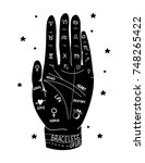 hand drawn palmistry vector... | Shutterstock .eps vector #748265422
