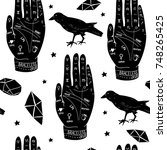 hand drawn palmistry vector... | Shutterstock .eps vector #748265425