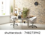 interior of modern room with... | Shutterstock . vector #748273942
