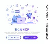 smm manager is working overtime ... | Shutterstock .eps vector #748274692