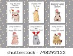 dogs in new year's costumes.... | Shutterstock .eps vector #748292122