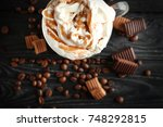 glass cup with caramel... | Shutterstock . vector #748292815