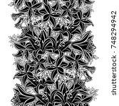 seamless monochrome pattern of... | Shutterstock .eps vector #748294942