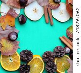 frame of autumn fruits | Shutterstock . vector #748295062