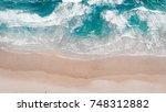 surfing aerial  beach on aerial ... | Shutterstock . vector #748312882