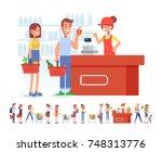 shopping in supermarket. flat... | Shutterstock .eps vector #748313776