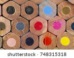 pattern of stacked color pencils | Shutterstock . vector #748315318