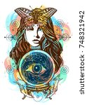 beautiful witch woman color... | Shutterstock .eps vector #748321942