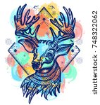deer color tattoo and t shirt... | Shutterstock .eps vector #748322062