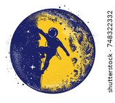 astronaut color retro tattoo...   Shutterstock .eps vector #748322332