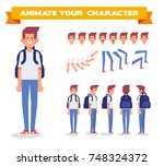 young guy with backpack. front  ... | Shutterstock .eps vector #748324372