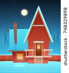 red wooden house covered with... | Shutterstock .eps vector #748329898