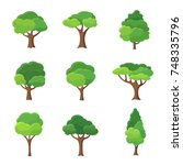 Collection of trees illustrations. Can be used to illustrate any nature or healthy lifestyle topic. | Shutterstock vector #748335796