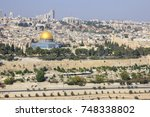 jerusalem  view of the old town ... | Shutterstock . vector #748338802