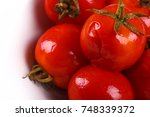 red marinated salted tomatoes... | Shutterstock . vector #748339372
