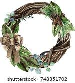 watercolor scandinavian... | Shutterstock . vector #748351702