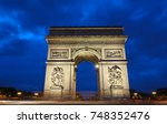 the triumphal arch in evening ... | Shutterstock . vector #748352476