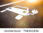 parking symbol for electric... | Shutterstock . vector #748361836