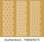 vector set of line borders with ... | Shutterstock .eps vector #748369675