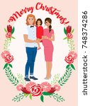 pregnant couple christmas card | Shutterstock .eps vector #748374286