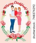pregnant couple christmas card | Shutterstock .eps vector #748374292