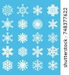 snowflakes on a blue background | Shutterstock .eps vector #748377622