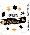 goodbye autumn golden lettering ... | Shutterstock .eps vector #748377976