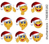 set of beautiful smiley faces... | Shutterstock .eps vector #748385182
