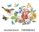 set of isolated watercolor... | Shutterstock . vector #748388362