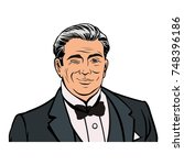 old good looking gentleman in... | Shutterstock .eps vector #748396186