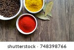 condiments in white glass bowl... | Shutterstock . vector #748398766
