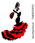 flamenco dancer  silhouette...   Shutterstock .eps vector #748403992