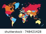 color world map vector | Shutterstock .eps vector #748421428