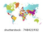 color world map vector | Shutterstock .eps vector #748421932