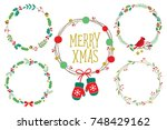 christmas ornament wreath frame ... | Shutterstock .eps vector #748429162