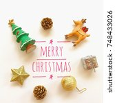 christmas with tree  gift boxes ... | Shutterstock . vector #748433026