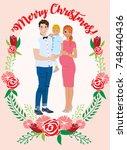 pregnant couple christmas card | Shutterstock .eps vector #748440436