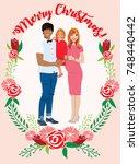 pregnant couple christmas card | Shutterstock .eps vector #748440442