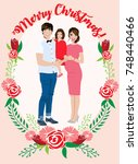 pregnant couple christmas card   Shutterstock .eps vector #748440466
