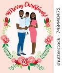 pregnant couple christmas card | Shutterstock .eps vector #748440472