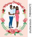 pregnant couple christmas card   Shutterstock .eps vector #748440472