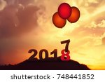 new year 2018 is coming concept.... | Shutterstock . vector #748441852