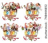 vector set of office emblems ... | Shutterstock .eps vector #748444852