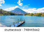 beautiful bay of lake atitlan... | Shutterstock . vector #748445662