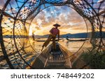 inle lake intha fishermen at... | Shutterstock . vector #748449202