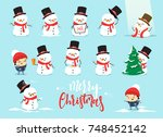 set christmas characters... | Shutterstock . vector #748452142