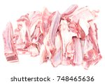 lamb ribs isolated on white... | Shutterstock . vector #748465636