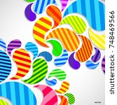 bright striped colorful curved... | Shutterstock .eps vector #748469566