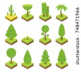 isometric tree set. big and... | Shutterstock .eps vector #748471966