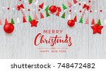 merry christmas web banner... | Shutterstock .eps vector #748472482